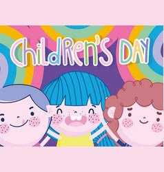 Children day little boys celebration rainbows vector