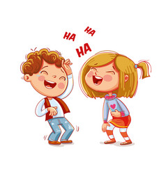 children laugh fun funny cartoon character vector image