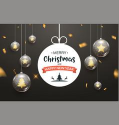 christmas ball background golden glass merry xmas vector image