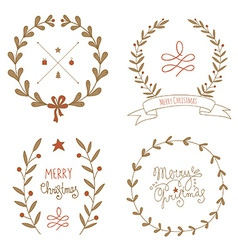Christmas wreaths set with greeting messages vector image