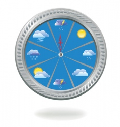 Clock with weather icons vector