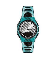 Color blurred stripe sport male wristwatch vector