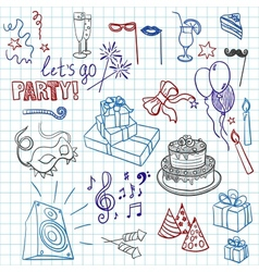colored set sketch party objects hand-drawn vector image