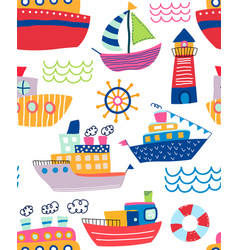 colorful seamless pattern assorted ships and vector image