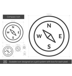 Compass line icon vector