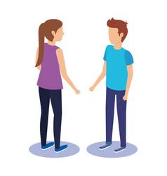 couple talking avatars characters vector image