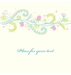 cute floral card with ripe raspberry vector image
