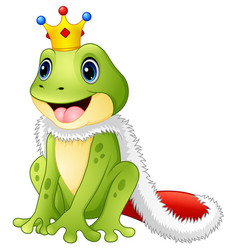 Cute king frog cartoon vector