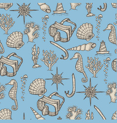 Diving hand drawing seamless pattern vector