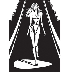 Fashion show in black and white vector