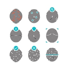 Fingerprint icons Identity finger prints vector image