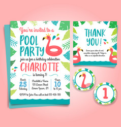 flamingo birthday invitation pool party vector image