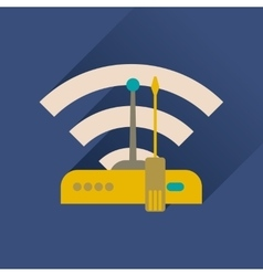 Flat icon with long shadow Wi fi modem vector