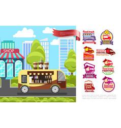 flat street food concept vector image
