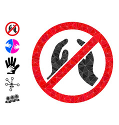 Forbid praying hands polygonal icon and other vector