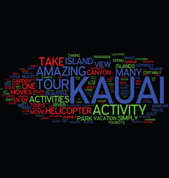 Great activities and adventures in kauai text vector