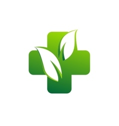Herbal medicine plus pharmacy health logo icon vector