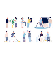 household family people cleaning his home rooms vector image