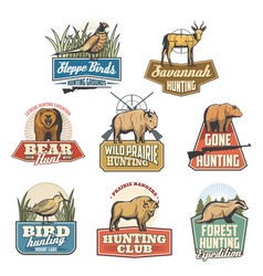 Hunting sport isolated icons vector