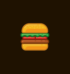 icon sandwich hamburger with meat and vector image