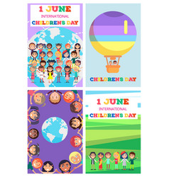 International children s day greeting cards set vector