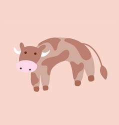 isolated cute brown spotted cow or bull vector image