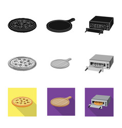 Isolated object of pizza and food sign collection vector
