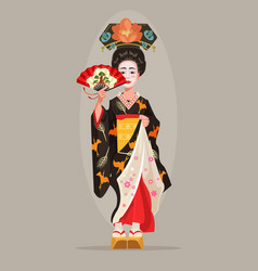 Japanese beautiful geisha character hold fan vector