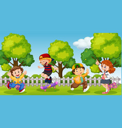 Kids playing in school compound park vector