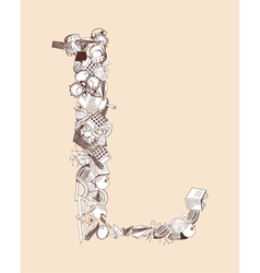 L School alphabet letter vector image
