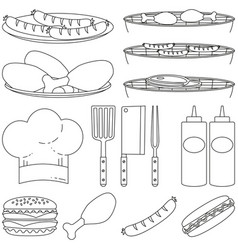 line art black white bbq cooking 15 element set vector image
