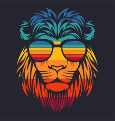 lion head retro eyeglasses vector image