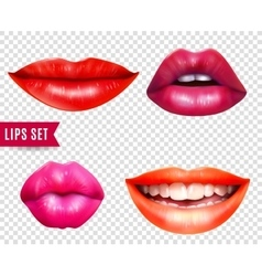 Lips transparent set vector