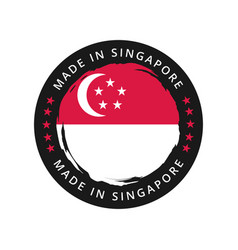 Made in singapore round label vector