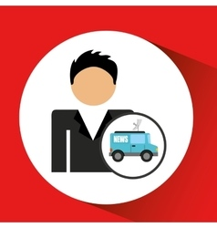 Man smartphone and news tv car design vector