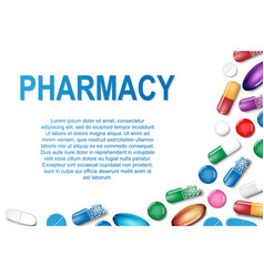 medical banner with pills and capsule background vector image