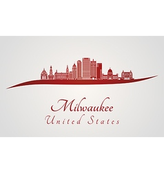 Milwaukee skyline in red vector image