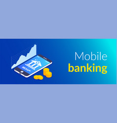 mobile banking concept online bank template bank vector image