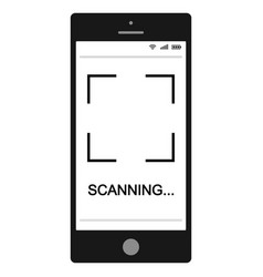Mobile phone smartphone with qr code scanning vector