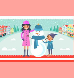 mother and child makes snowman vector image