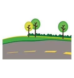 Paved road with trees on the roadside icon image vector