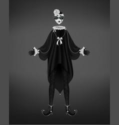 Pierrot costume italian comedy del arte character vector