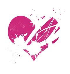 Pink grungy heart vector