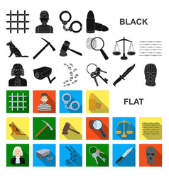 Prison and the criminal flat icons in set vector