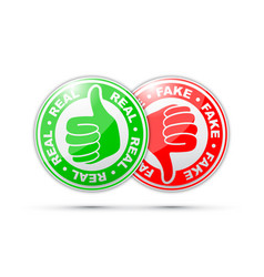 real and fake thumbs up and down icon vector image