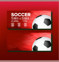 red coupon on soccer sport game template vector image