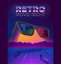 Retro movie night poster design template vector