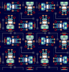seamless pattern robot vector image