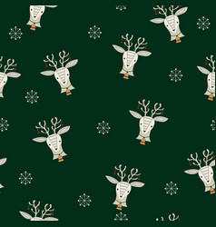 seamless pattern with reindeer and snowflakes vector image