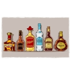 set bottles with alcohol and stemware vector image